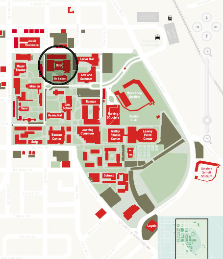 Daly Science Center is circled in black